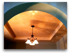 this Rock Island Illinois view is from the hallway in the kitchen with a Venetian plaster ceiling