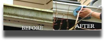 Before and after picture of quad cities gutters being cleaned on the outside